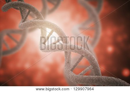DNA closeup on red background. 3D Rendering