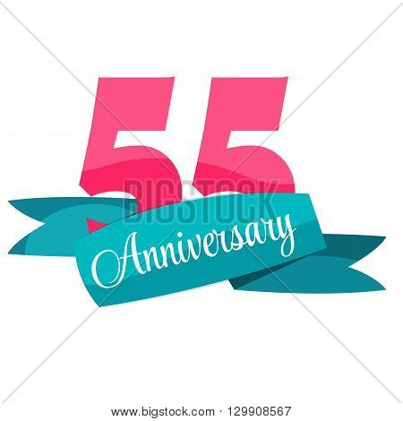 Cute Template 55 Years Anniversary Sign Vector Illustration EPS10