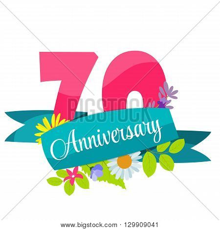 Cute Template 70 Years Anniversary Sign Vector Illustration EPS10