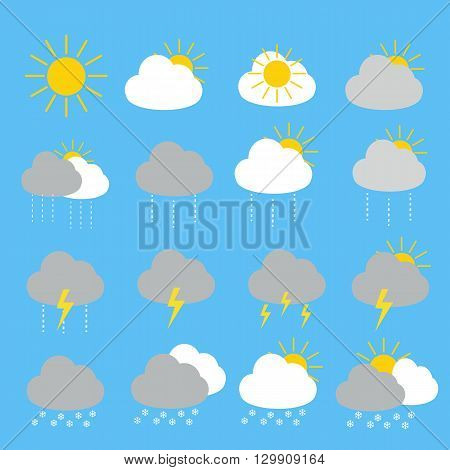 Weather forecast icon set with sunny rainythunderstorm and snow set 16 items