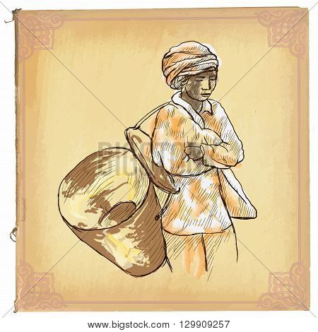 Woman From Laos - An Hand Drawn Vector Sketch, Freehand, Colored Line Art