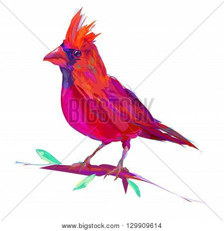The set of exotic birds isolated on white background. Retro design graphic element. This is illustration ideal for a mascot and tattoo or T-shirt graphic. Stock illustration