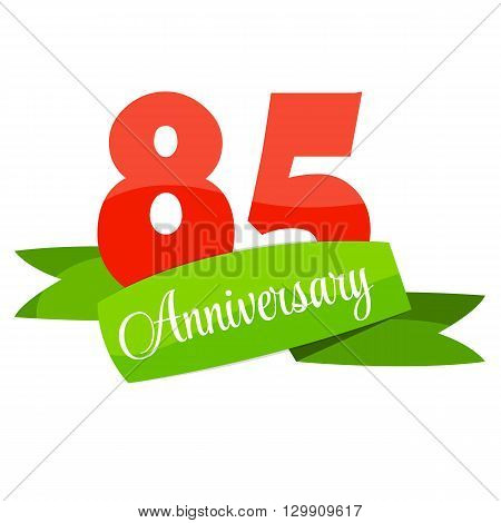 Cute Template 85 Years Anniversary Sign Vector Illustration EPS10