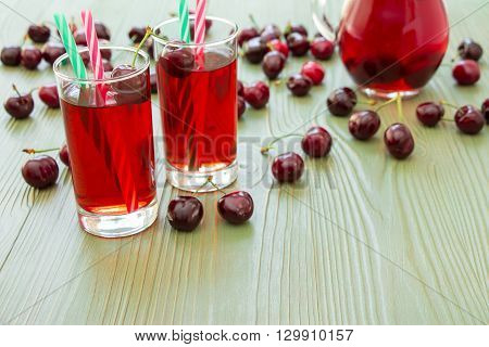 Left 2 glasses of juice green straws scattered cherries jar of cherry juice on right empty space for text on green background. Cherries cherry juice and empty space. Horizontal.