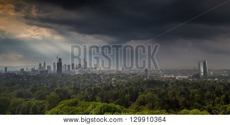 Thunderstorm over the city of Frankfurt am Main Hessen Germany
