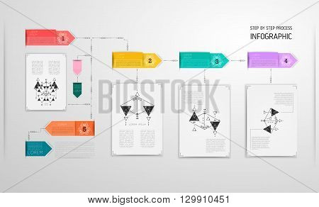 Infographic design template, linear thin original style. Can be used for workflow layout, diagram, number options, web design. Flat design