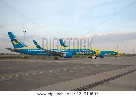 BUDAPEST, HUNGARY - SEPTEMBER 22, 2013: Aerosvit Boeing 767 airliners stored in Budapest after the Ukrainian company went bankrupt.