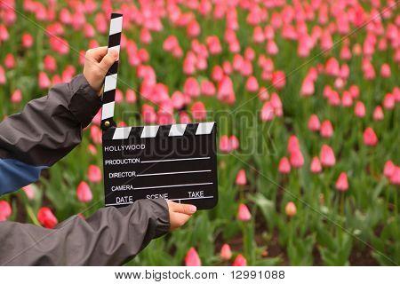 Cinema clapper board in hands of boy on field with tulips