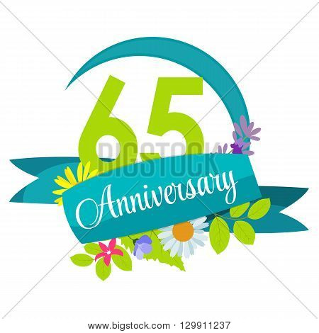 Cute Nature Flower Template 65 Years Anniversary Sign Vector Illustration EPS10