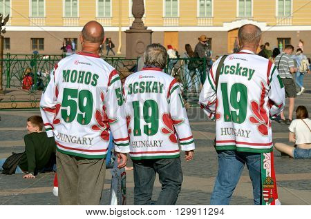 Russia.Saint-Petersburg. May 7 2016.Palace square.Numbers on t-shirts from sports fans.