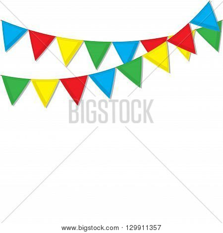 Garland of colored flags. Festive flags for decoration. Garlands of flags on a white background.Vector illustration.