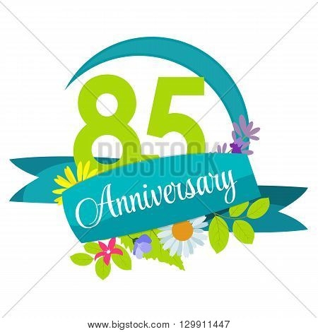 Cute Nature Flower Template 85 Years Anniversary Sign Vector Illustration EPS10