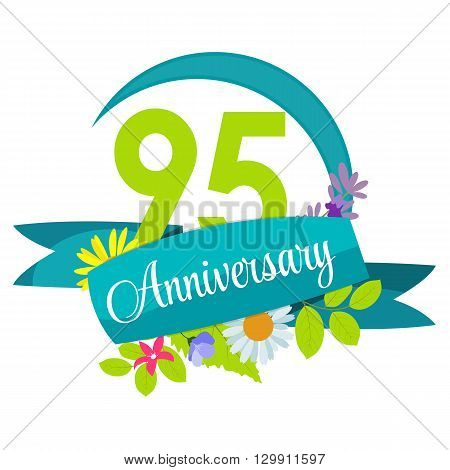 Cute Nature Flower Template 95 Years Anniversary Sign Vector Illustration EPS10