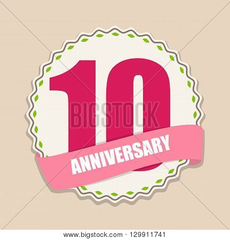 Cute Template 10 Years Anniversary Sign Vector Illustration EPS10