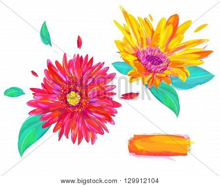 Cute  gerbera. Set of flowers isolated on white background. Retro design graphic element. This is illustration ideal for a mascot and tattoo or T-shirt graphic. Stock illustration