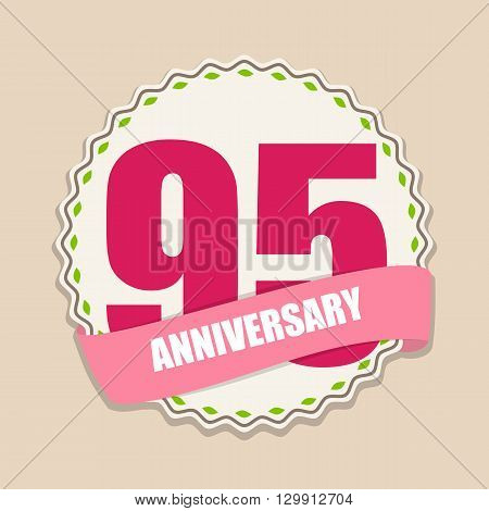Cute Template 95 Years Anniversary Sign Vector Illustration EPS10