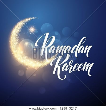 Ramadan Kareem greeting lettering card with moon and stars. Vector illustration EPS10