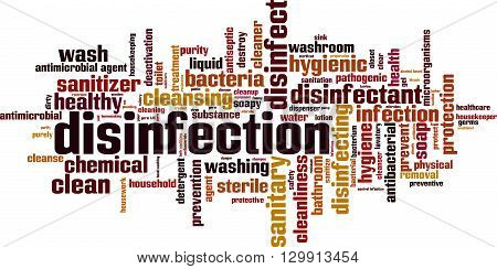 Disinfection word cloud concept. Vector illustration on white