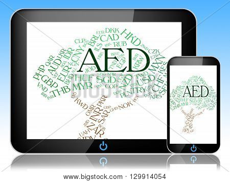 Aed Currency Indicates United Arab Emirates And Currencies
