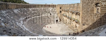 ANTALYA TURKEY - MARCH 7 2016 : View of amphitheater with historical old granit stairs in Aspendos Ancient City.