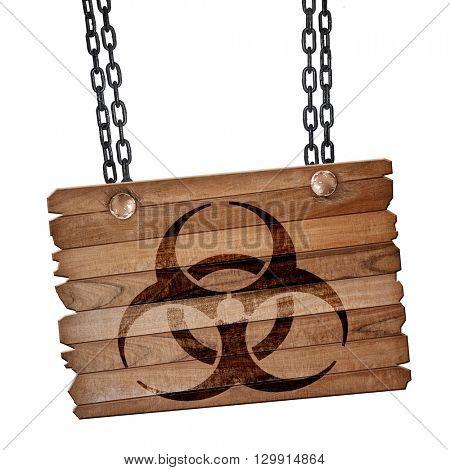 Bio hazard sign on a grunge background, 3D rendering, wooden boa