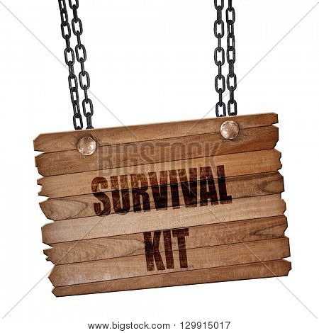 Survival kit sign, 3D rendering, wooden board on a grunge chain