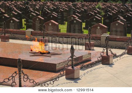 MOSCOW - JUNE 23: Eternal flame at Military Memorial of Preobrazhenskoye cemetery, June 23, 2010 in Moscow, Russia. This is biggest in military memorial - 2200 burial places concerning to 1941-1945