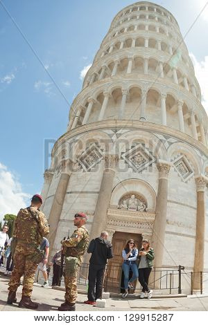 Italian Soldiers In Cathedral Square Of Pisa