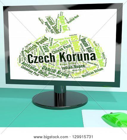 Czech Koruna Indicates Exchange Rate And Banknotes