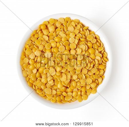 Bowl Of Yellow Lentils Isolated On White, From Above