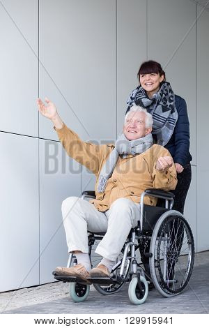 Disabled Man Enjoying A Travel