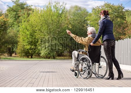 Disabled Man And Female Caregiver