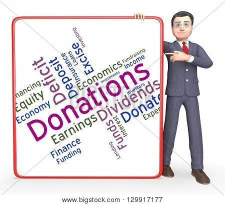 Donation Word Means Contribution Donate And Contributors