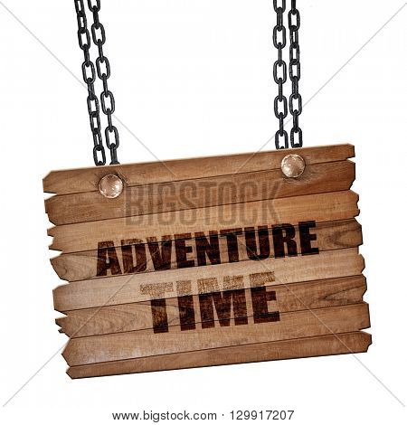 adventure time, 3D rendering, wooden board on a grunge chain