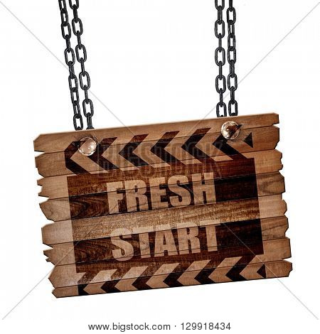 Fresh start sign, 3D rendering, wooden board on a grunge chain