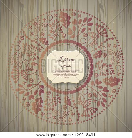 Template greeting card or invitation with flowers on wooden texture