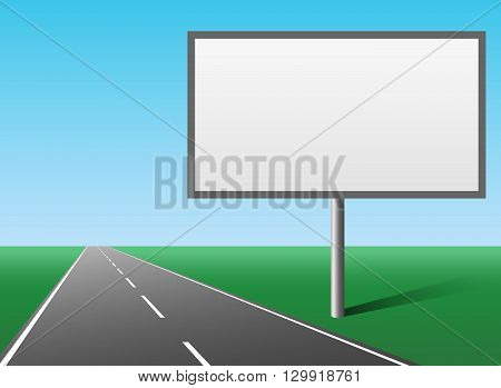 Blank hoarding advertising panel billboard placed at the road