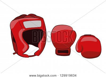 boxing equipment helmet and gloves isolated on white background