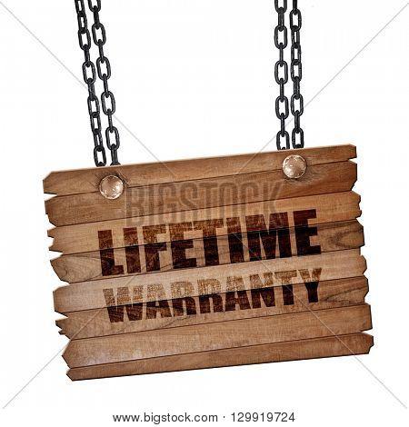 lifetime warranty, 3D rendering, wooden board on a grunge chain