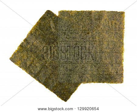 Sheet of dried nori dried seaweed isolated on white background