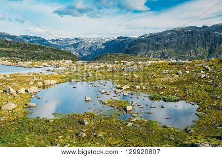 Beautiful Norwegian Mountains and Blue Deep Lake. Nature of Norway. Travel and Hiking. Amazing Scenic View. Nobody. Scandinavia.