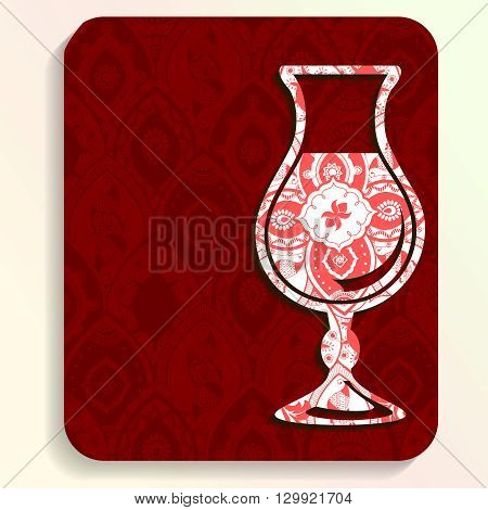 Vacation illustration of a glass silhouette filled with very intricate patterns. Graphics are grouped and in several layers for easy editing. The file can be scaled to any size.