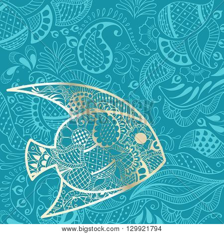 Vacation background with golden fish silhouette and henna tattoo inspired patterns. Graphics are grouped and in several layers for easy editing. The file can be scaled to any size.