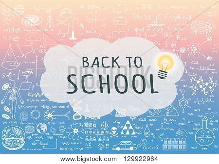 BACK TO SCHOOL on speech bubble with lightbulb on science background with trendy pantone