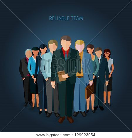 conceptual illustration of successful team of business people in flat design style