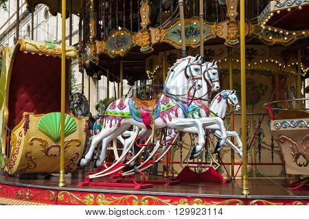 AVIGNON FRANCE - MAY 04 2015: Carousel horse in historical centre of Avignon southern France