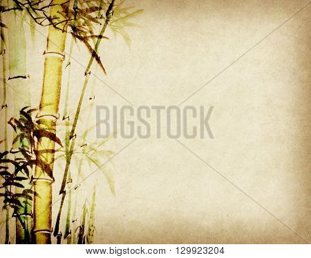 Bamboo trees hand drawn with ink in traditional chinese painting