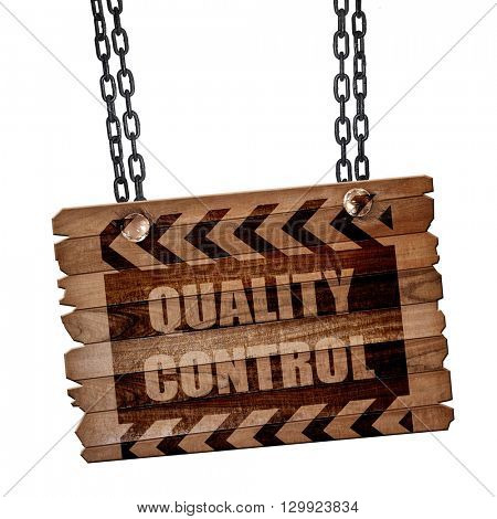 Quality control background, 3D rendering, wooden board on a grun