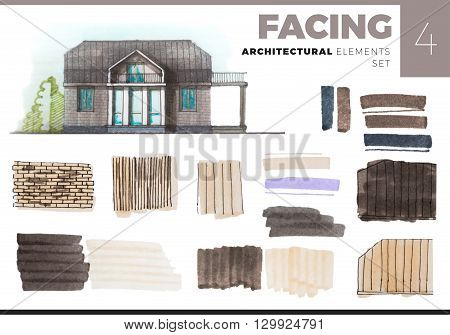 Architectural Elements Creative Set with house. Watercolor and marker painted elements isolated on white for artistic architectural visualization. Set with facing architectural elements.