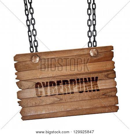 cyberpunk, 3D rendering, wooden board on a grunge chain